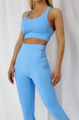 Compleu fitness Ludy colanti si bustiera albastru