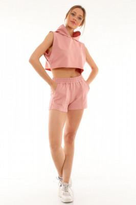 Compleu sport June tricou si pantaloni scurti roz inchis