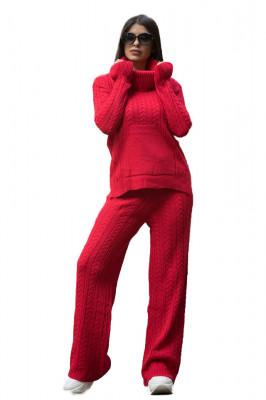 Compleu tricotat Ribelle doua piese, rosu