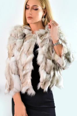Jacheta scurta din blana naturala de iepure alb-bej