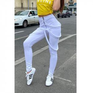 Pantaloni dama albi cu fermoar si bretele
