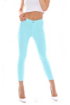 Pantaloni elastici talie medie Tina turquoise