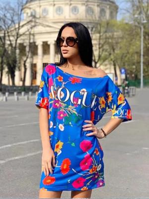 Rochie casuala de zi Vogue albastra cu imprimeu floral