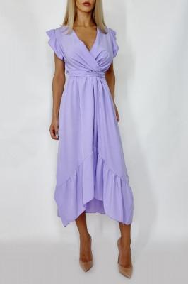 Rochie midi cu cordon in talie Bianca lila