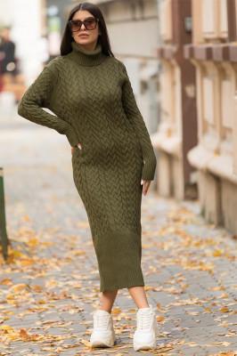 Rochie tricotata Diane, cu guler si maneci lungi, kaki