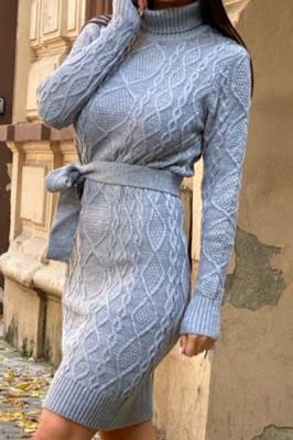 Rochie tricotata Sara, cu guler si maneci lungi, gri