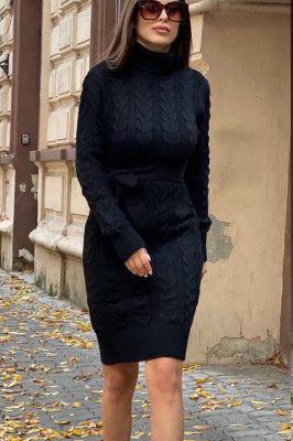 Rochie tricotata Sara, cu guler si maneci lungi, negru