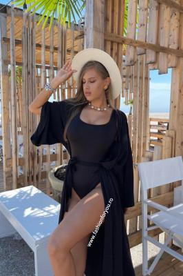 Set Fiona negru costum de baie intreg si cardigan de plaja
