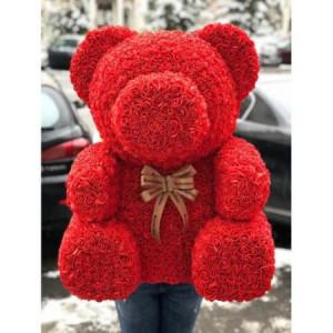 Urs mare Rosu din Trandafiri de spuma in cutie cadou cu funda, 70 cm