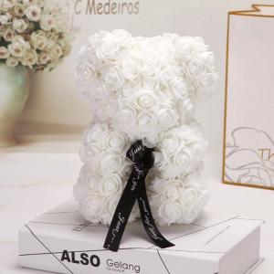 Ursulet floral 25 cm din trandafiri de spuma Rose Bear, cutie cadou