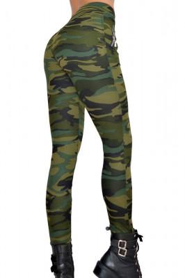 Colanti Army kaki, croiala skinny, imprimeu de camuflaj captusiti