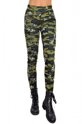 Colanti Army verde inchis, croiala skinny, imprimeu de camuflaj