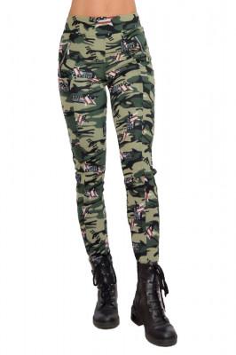 Colanti Army verzi, croiala skinny, imprimeu de camuflaj