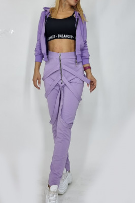 Compleu dama Cezara hanorac si pantaloni cu bretele lila
