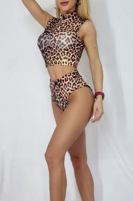 Costum de baie doua piese Nisa leopard