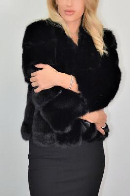 Haina din blana ecologica de vulpe, neagra