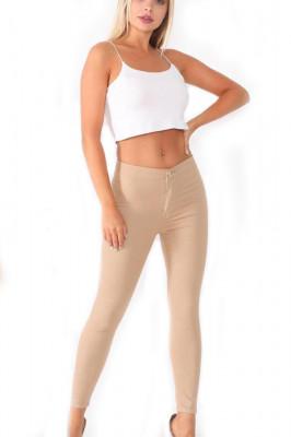 Pantaloni elastici talie medie Tina crem