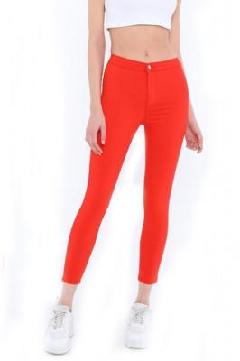 Pantaloni elastici talie medie Tina rosu