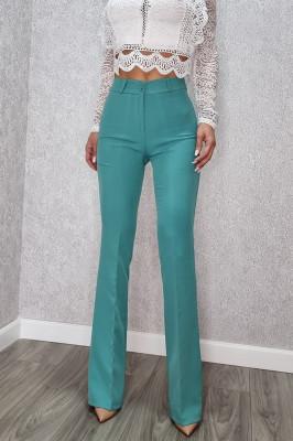 Pantaloni evazati cu dunga Melea verde