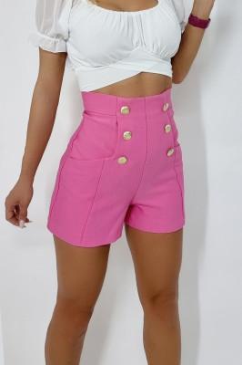 Pantaloni scurti eleganti Anastasia roz cu talie inalta