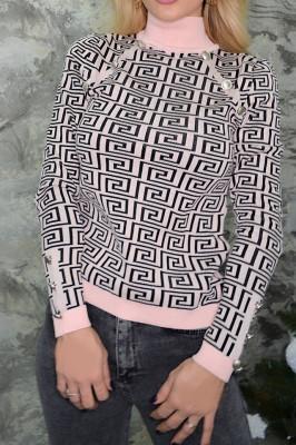 Pulover cu imprimeu modern, roz
