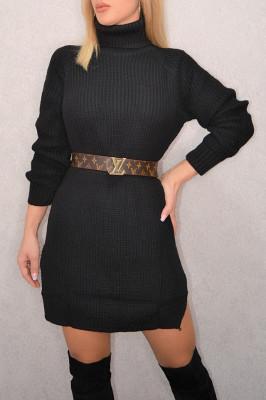 Pulover lung tricotat Desire, negru