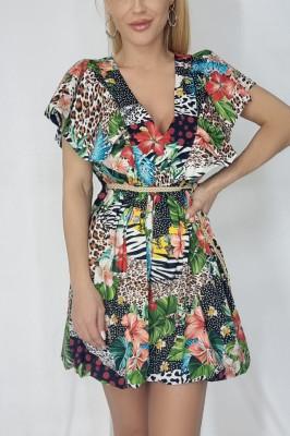 Rochie babydoll Minda cu cordon in talie multicolora