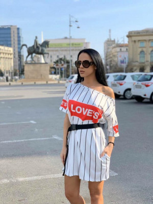 Rochie casuala de zi Loves alba cu imprimeu trendy