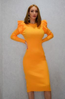 Rochie Dalia orange cu umeri bufanti