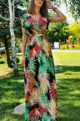 Rochie lunga de vara, cordon in talie imprimeu floral verde, rosu