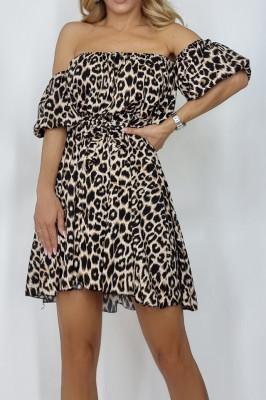 Rochie scurta Annemary cu umerii goi si maneci bufante, imprimeu leopard