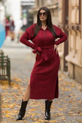 Rochie tricotata Melina, cu gluga si cordon, burgundy