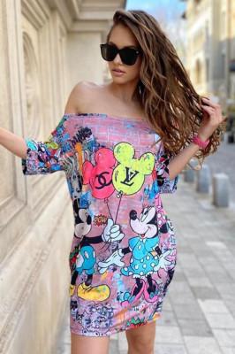 Rochie tricou lung Mickey-Minnie