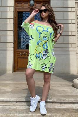 Rochie tricou lung Minie-Donnie verde