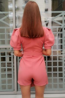 Salopeta eleganta de vara cu maneci scurte bufante, roze