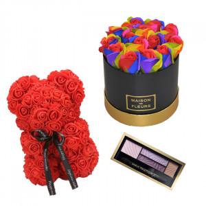 Set Cadou Aranjament floral cutie rotunda neagra cu trandafiri multicolor de sapun, Ursulet floral Rosu 25cm si Paleta fard