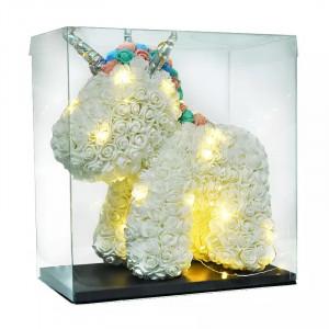 Unicorn Floral din Trandafiri de spuma 40 cm, ambalat in cutie, cu led de lumini