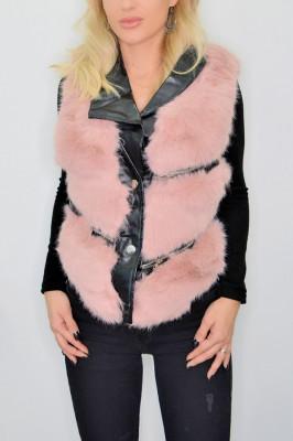 Vesta din blana cu insertii de piele ecologica rose