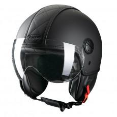 PILOT - Casca Open-face PELLE - negru, XL