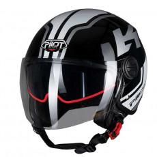 PILOT - Casca Open-face FAZER (sun visor) - XL, gri / negru [bicolor]