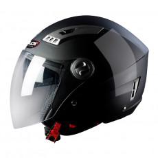 PILOT - Casca Open-face KIRON 3 (cu ochelari soare) - negru lucios, XS