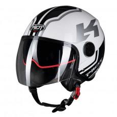 PILOT - Casca Open-face FAZER (sun visor) - XS, alb / gri [bicolor]