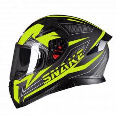 PILOT - Casca Full-face SNAKE (cu ochelari soare) - negru mat / galben fluo, XL