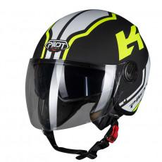PILOT - Casca Open-face FAZER (sun visor) - L, negru / galben fluo [bicolor]