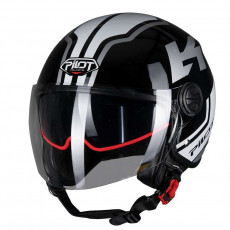 PILOT - Casca Open-face FAZER (sun visor) - XS, gri / negru [bicolor]