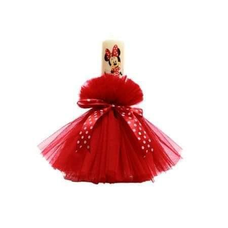 Lumanare de botez Minnie rosie