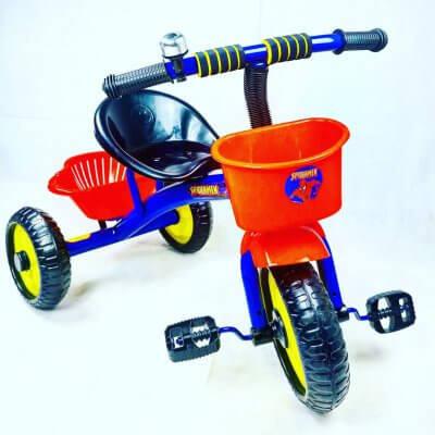 Tricicleta cu pedale, aliaj metalic, 2 cosuri, ghidon ajustabil,spiderman albastru,3-5 ani