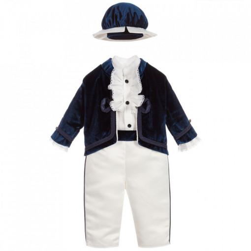 Costum de botez Micul print, bleumarin, 4 piese,3 si 6 lun