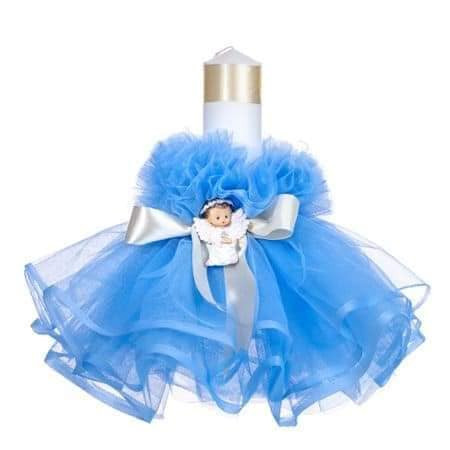 Lumanare de botez, tull rochita, ingeras bleu