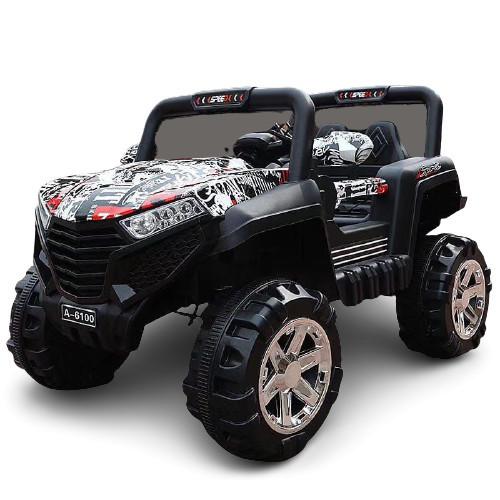 Masinuta electrica cu 2 locuri si suspensii Jumbo Jeep graffiti negru/rosu